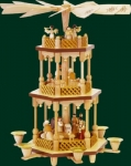 Glaesser Christmas Pyramid: Nativity Scene natural, hand carved and hand painted, height: appr. 38 cm.rnDon
