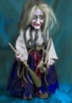 Witch Marionette with rolling eyes handmade in Prague