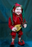 Joker Jester Marionette large with rolling eyes handmade in Prague