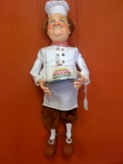 Pastry Chef Marionette hand made in Germany, ceramic face, hands, shoes, glass eyes. Made in Germany